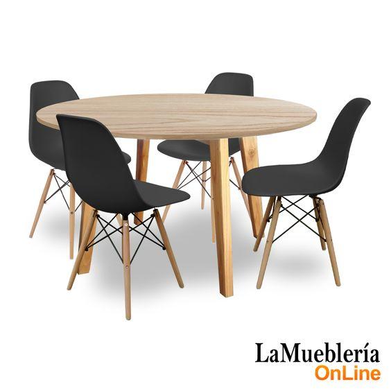 Juego de comedor mesa Artus redonda 120 con 4 sillas Eames negras en La Muebleria OnLine