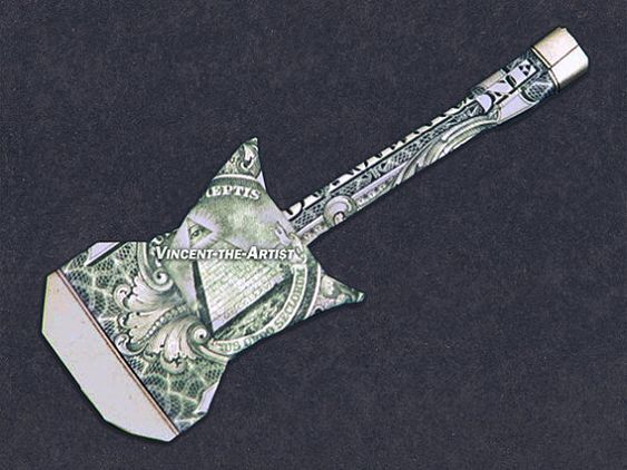 electric guitar dollar origami gift ideas pinterest