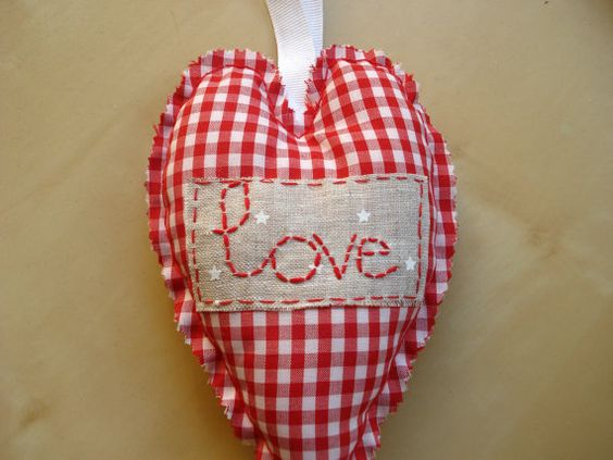 Red and white gingham Love stuffed hanging