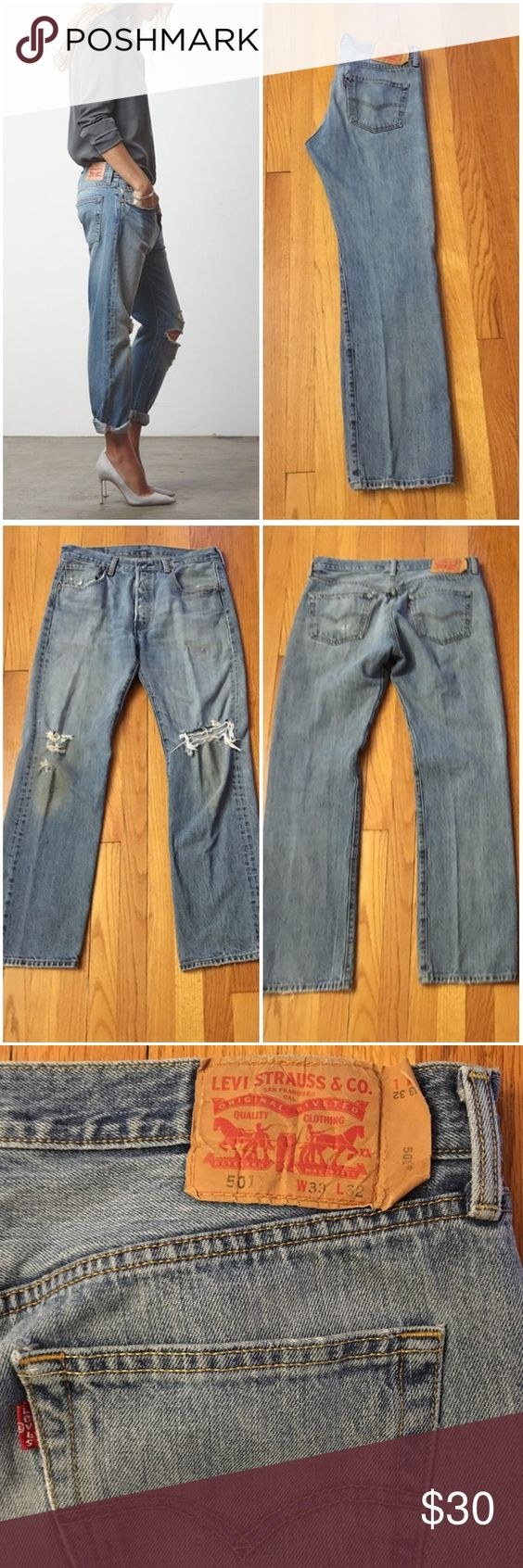 """Vintage Levi's 501 Jeans Style #: 501 Size/Fit Marked: 33x32 Size BEST FIT: 29/8 Apx. measurements when laying flat: 15.75"""" across waistband 11.25"""" front rise  30"""" inseam 21"""" across bottom of back pockets Condition: distressing/stains at knee area. Adds to vintage character. 5-button fly. 🎉Check out my closet for other vintage denim in a VARIETY of sizes. Left cover photo is style inspo, rest are mine. Price is firm so bundle for a discount!! Levi's Jeans"""