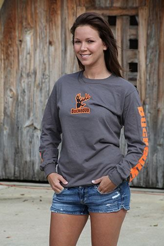 BUCKED UP Charcoal with Orange Longsleeve | Country Bling