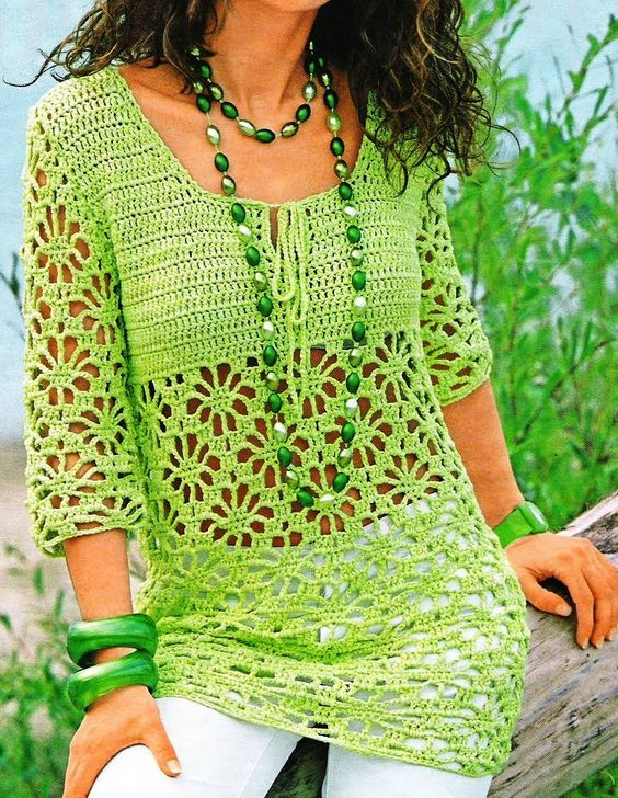 Lacy Tunic in Lime - no pattern but simple enough to reproduce.: