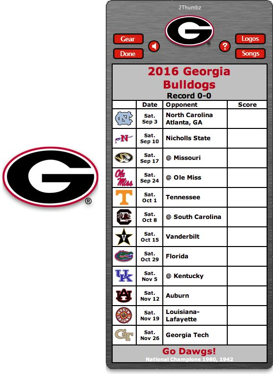 Get your 2016 Georgia Bulldogs Football Schedule Mac App for Mac OS X - Go Dawgs!  http://2thumbzmac.com/teamPages/Florida_Gators.htm