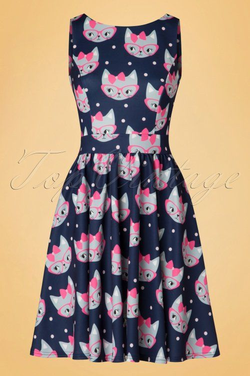 Lady V Retro Cat Print Tea Dress 102 39 20093 20161010 0014w
