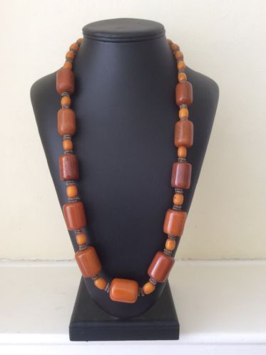 STUNNING Vintage 1930s AMBER BAKELITE Bead NECKLACE Unusual Rare Barrel Long