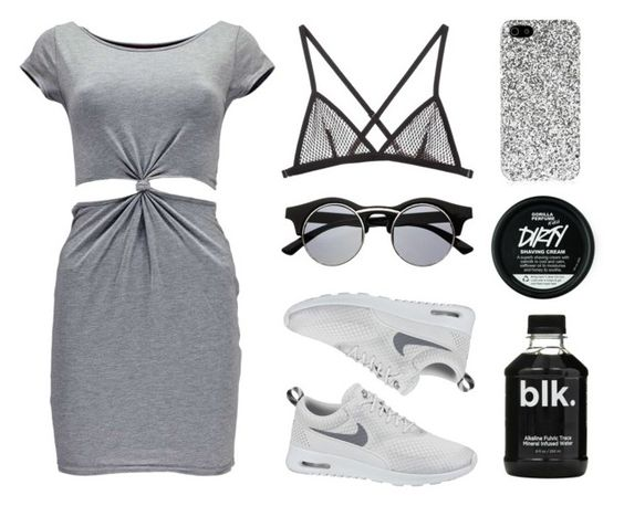 """""""Ashes"""" by baludna ❤ liked on Polyvore featuring Boohoo, Yves Saint Laurent, NIKE and Fleur du Mal"""