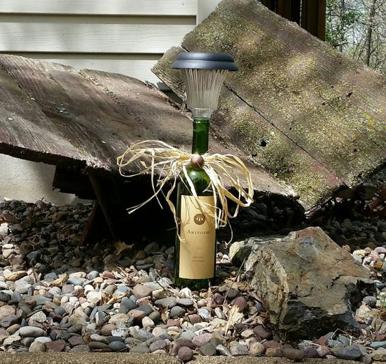Wine bottle solar light perfect for a garden or patio