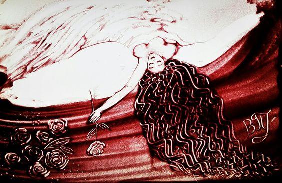Red woman, sand art, парфюмер, розы, рисование песком