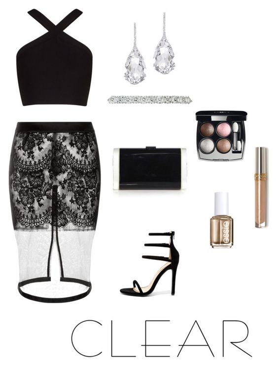 """""""Clear"""" by style-my-style ❤ liked on Polyvore featuring BCBGMAXAZRIA, Liliana, Edie Parker, Plukka, Chanel, Essie, clear and Seethru"""