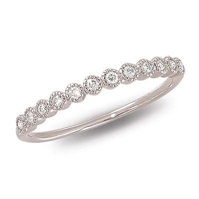 This delicate and dainty 14K white gold diamond band features twelve bezel-set diamonds attractively linked together. Click on the picture for more details.