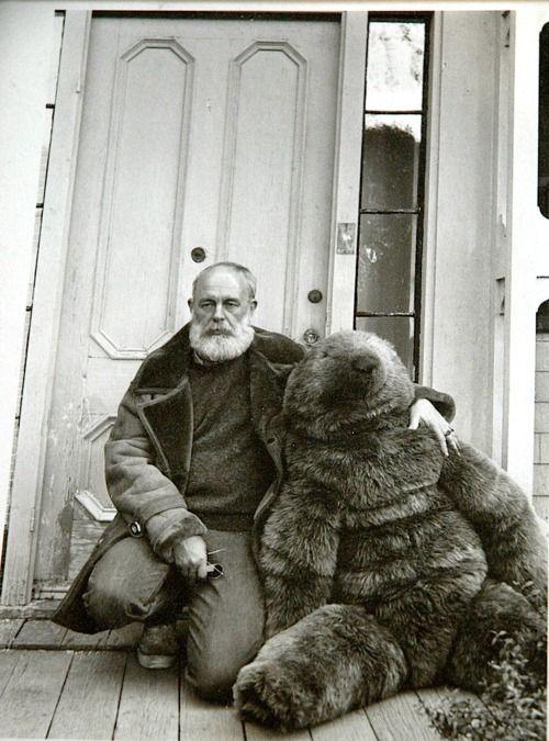 Edward Gorey and his gigantic teddy bear.