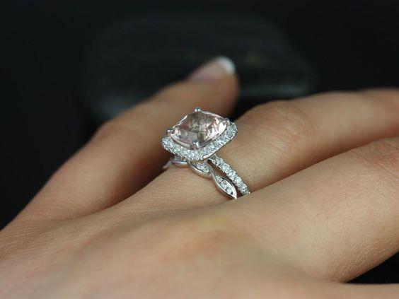 Rosados Box Pernella 8mm & Ember White Gold Cushion Morganite and Diamonds Halo Wedding Set