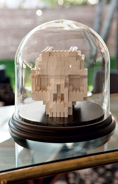 Lego skull, the glass seems overkill.