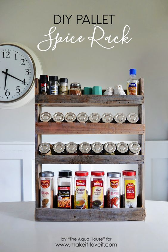 Build a super easy DIY Pallet Spice Rack. This spice rack is simple, fast, and helps you add more space and function to your kitchen.