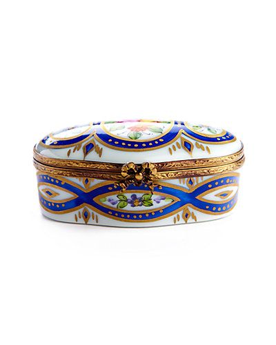 Some of you have to get in on this: Rochard Limoges Blue & Floral Oval Box