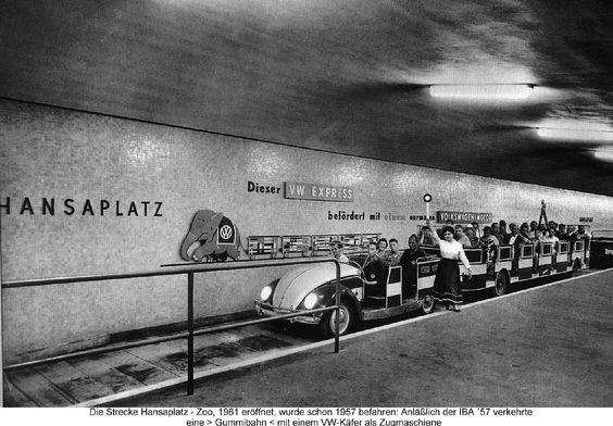1957 West-Berlin - Obwohl die U-Bahn-Strecke Hansaplatz - Zoologischer Garten erst 1961 in Betrieb genommen wurde, durchfuhr eine VW-Gummibahn 1957 den Bahnhof. Anlass war die Interbau (IBA 57), eine Internationale Bauausstellung zur Neugestaltung des damals durch den Zweiten Weltkrieg zerstörten Hansaviertels. ☺