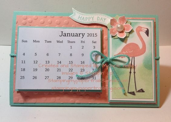 Stampin Up Calendar Ideas : Stampin up flamingo lingo happy day calendar kalender