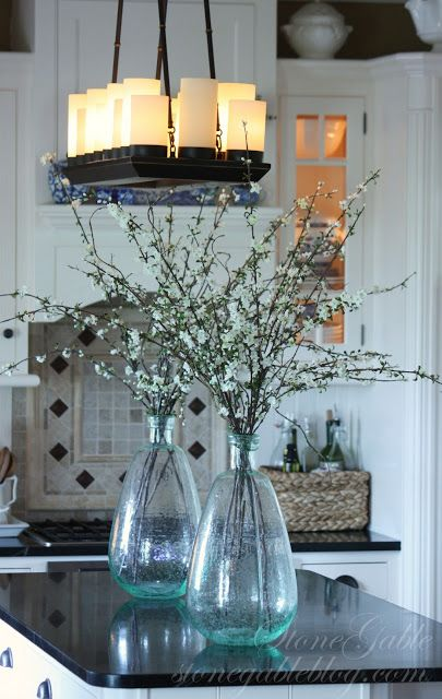 StoneGable: SPRING KITCHEN I'm in love with this blog and these vases I am dying over.: