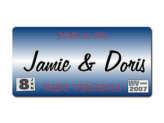 West Virginia USA Autokennzeichen mit Wunschtext bedruckt - Hausnummern und Schilder online kaufen
