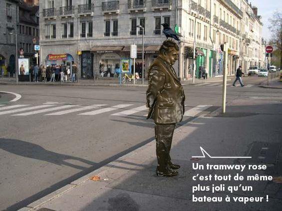 Joli détournement de la statue du marquis Jouffroy d'Abbans par JM.Blondeau