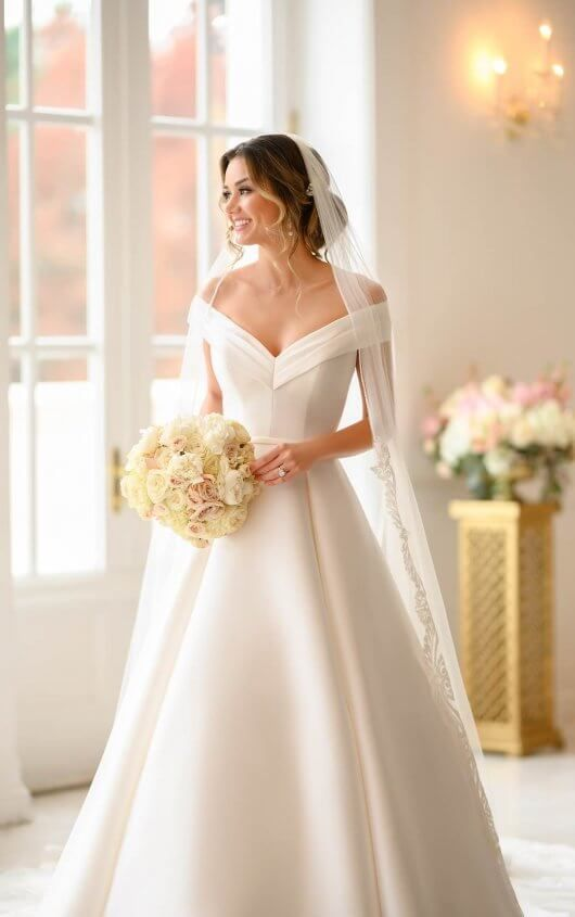 Simple Ballgown With Off The Shoulder Sleeves Stella York Wedding Dresses In 2020 English Wedding Dresses Long Gown For Wedding Simple Wedding Gowns