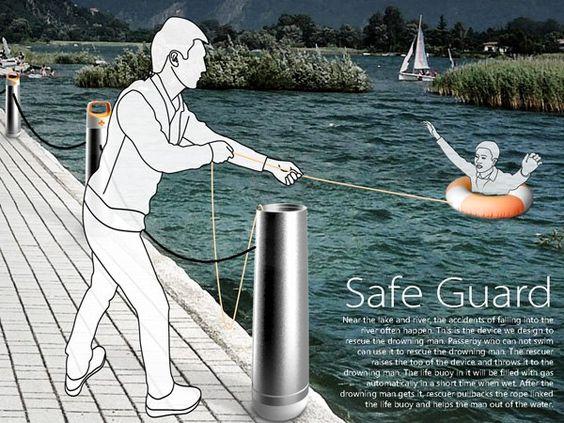 + Design de produto :     Uma bóia salva-vidas, onde o corpo esta instalado na terra/superfície, e a bóia infla ao tocar na água.