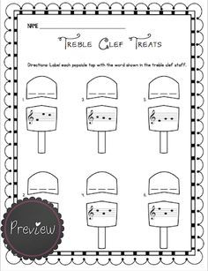 intro to treble spaces note names kids worksheet - Google Search