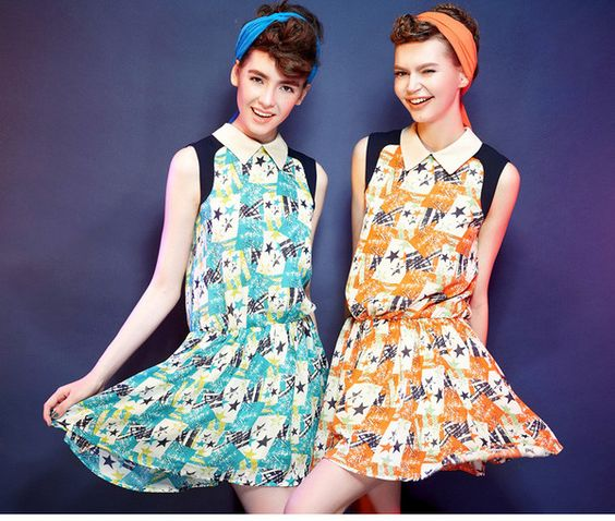 Womens Star Vintage Dress