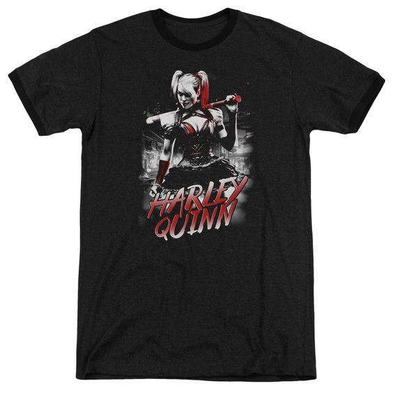 Batman Arkham Knight - Quinn City Adult Ringer T- Shirt