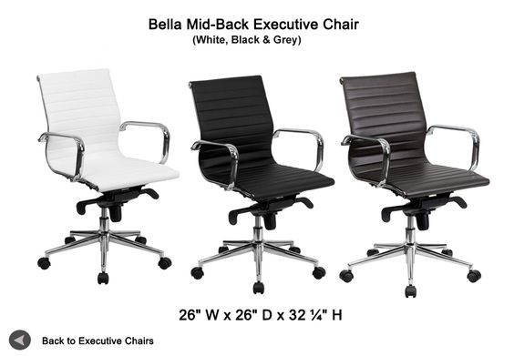 Bell Mid-Back Executive Chair in black & White