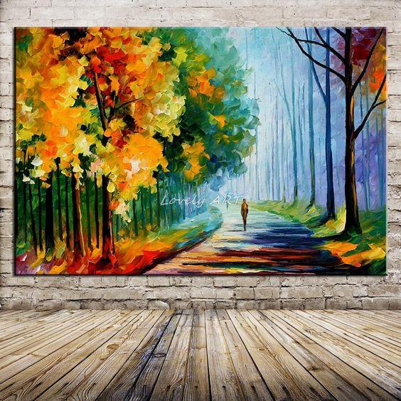 Pas cher 100 peint la main moderne palette couteau arbres peinture l 39 - Peinture sur toile moderne pas cher ...
