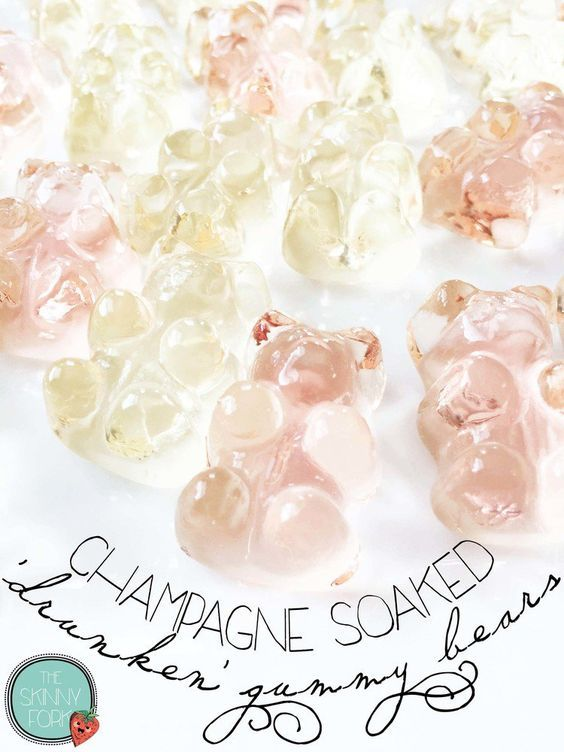 Make Champagne Soaked Gummy Bears for your Bachelorette Party - cute as favors or a treat before going out