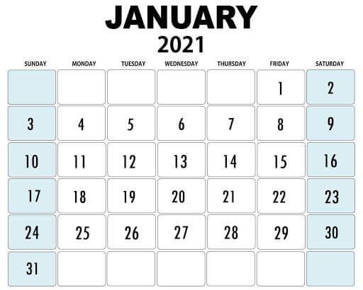 Printable January 2021 Editable Calendar Editable Calendar January Calendar Free Printable Calendar Templates