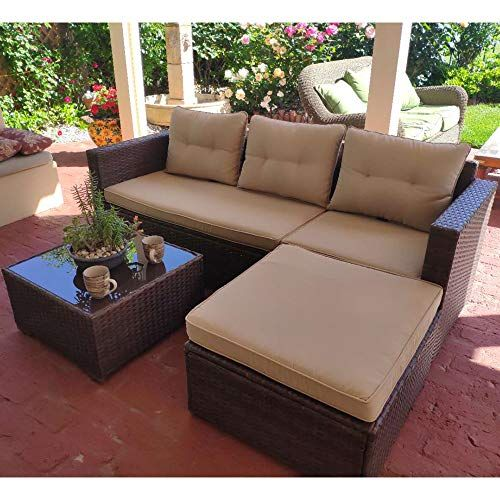 Sunsitt Outdoor Sectional Sofa 4 Piece Furniture Set All Weather Brown Wicker Outdoor Sectional Furniture Outdoor Sectional Sofa Comfortable Patio Furniture