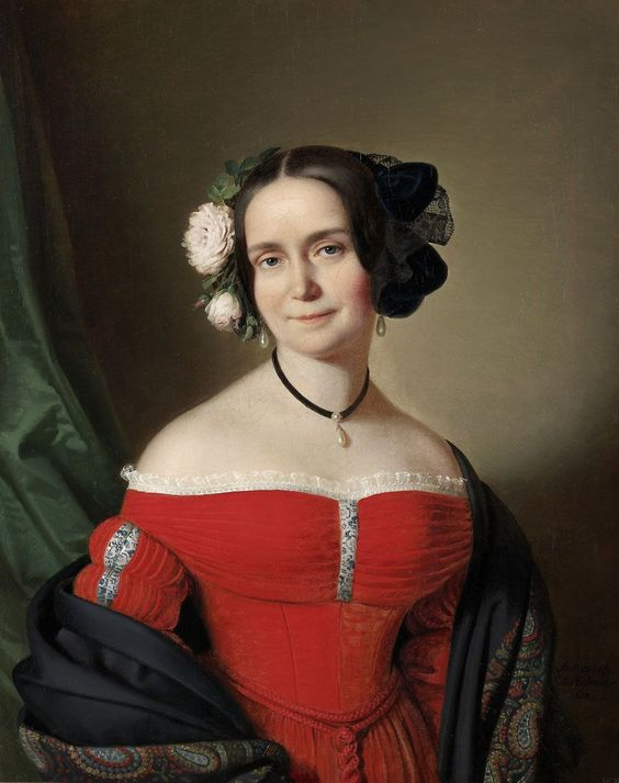 1838 Anton Einsle Woman in a Red Dress