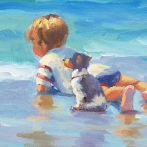 Beach Boy Little Boy On The Beach With His Pet Dog Jack Russell