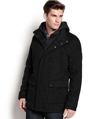 London Fog Coat Napa Fly-Front Overcoat - Mens SALE &amp CLEARANCE