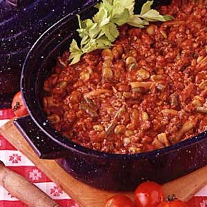 """Block Party Beans Recipe   Taste of Home Recipes. This is my """"go-to"""" recipe for 20+ yrs now! Never fails to please a crowd, or the fam, freezes well, just an all-around WINNER!!!"""