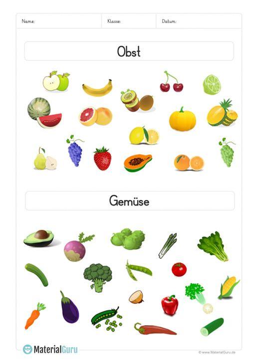 Ein Kostenloses Arbeitsblatt Zum Thema Obst Und Gemuse Auf Dem Die Kinder Verschiedene Abbildungen Unterteilt N Kostenlose Arbeitsblatter Obst Und Gemuse Obst