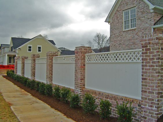 Picts Of Fences Made Of Brick An Wood Wood Spaced Picket