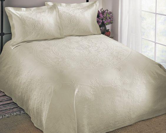For petticoat, Cody Direct Oslo Bedspread, 100-Percent cotton matelasse, white, Full, Dimensions 110 by 122, $79.99