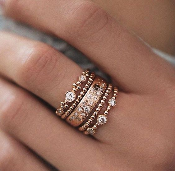 Beautiful stacked diamond rings.