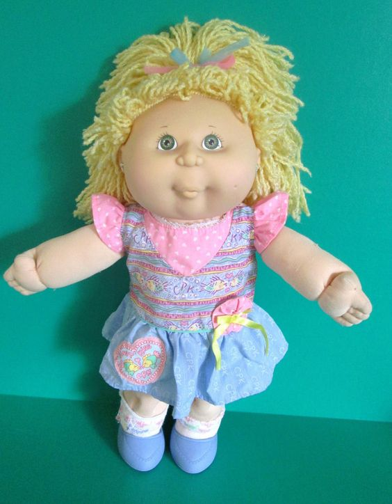 Cabbage Patch Girl Doll 1991 Kissin' Kids Blonde Crimp Hair Green Eyes Works #Hasbro #DollswithClothingAccessories
