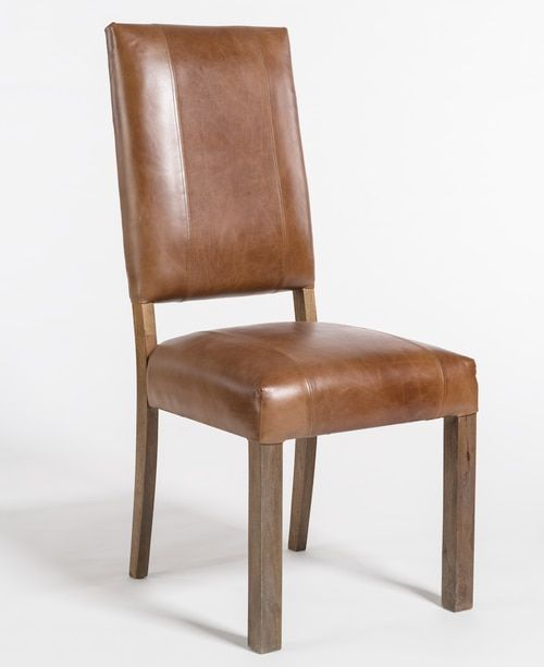 Brown Modern Square Back Leather Dining Chair Dining Chairs