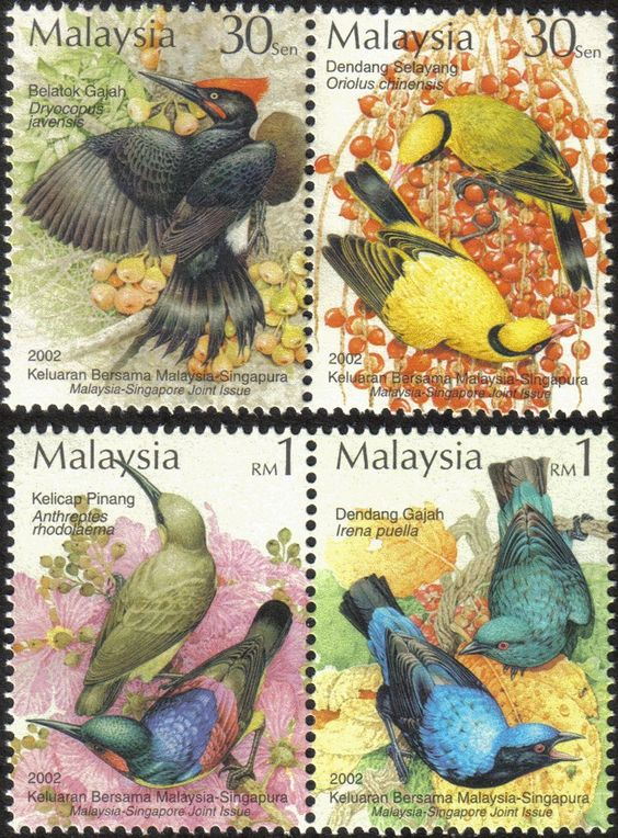 2002 Tropical Bird Flower Flora Plant Malaysia Singapore Joint Issue Stamp MNH