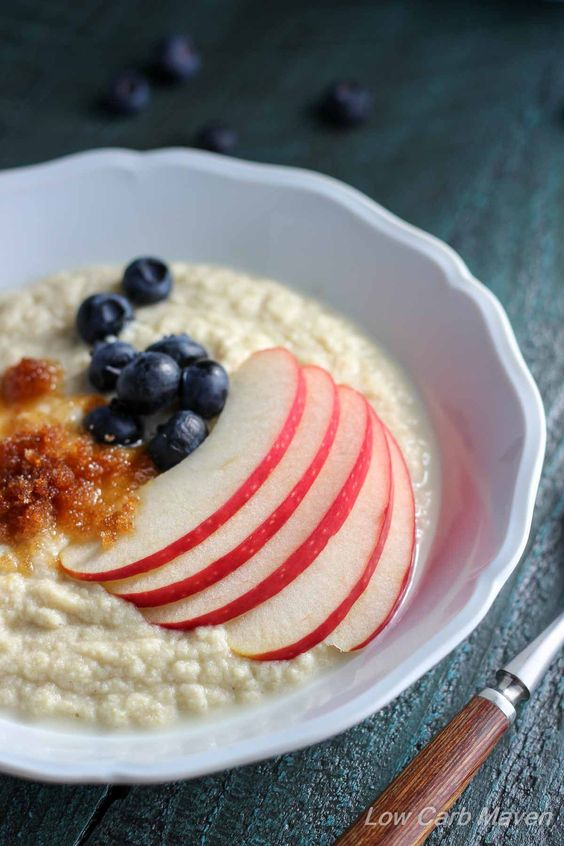 Coconut Flour Porridge is a simple warming breakfast that's read in minutes. | low carb, gluten-free, paleo, keto, thm | LowCarbMaven.com: