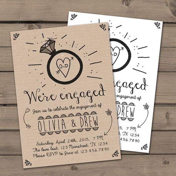 Engagement Party Invitation Engagement Party Invite Engagement Dinner Wedding invite Rustic Shabby chic Ring Kraft paper Digital Printable