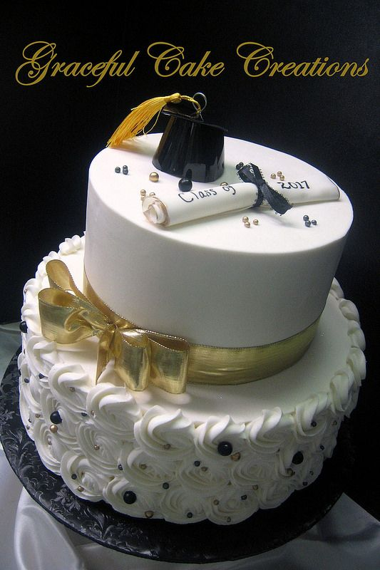Black And Gold Graduation Cake With Cap And Scroll With Images