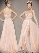 Peach one shoulder Prom Bridal gown evening Pageant gown wedding dress custom