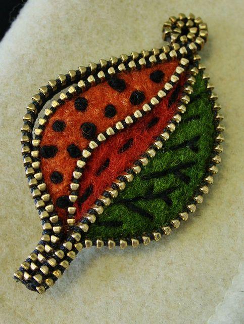 Felt and zipper brooch ❤ by woolly  fabulous, via Flickr